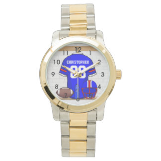 Personalized Blue White Red Football Jersey Watch
