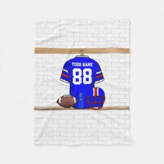 Personalized Blue WR Football Grid Iron jersey Fleece Blanket