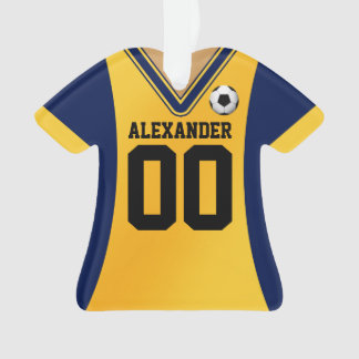 Personalized Blue/Yellow Soccer Jersey Ornament