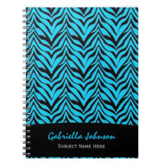 Personalized:Blue Zebra Print Notebook