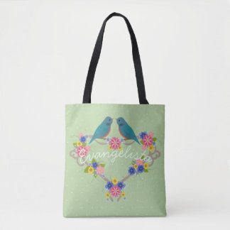 Personalized Bluebirds on Flower Heart Wreath Tote Bag