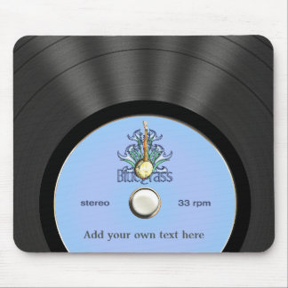 Personalized Bluegrass Vinyl Record Mouse Pad
