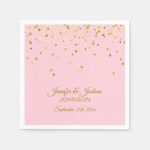 a071a11f8b6c Personalized Blush Pink Rose Gold Confetti Wedding Napkin