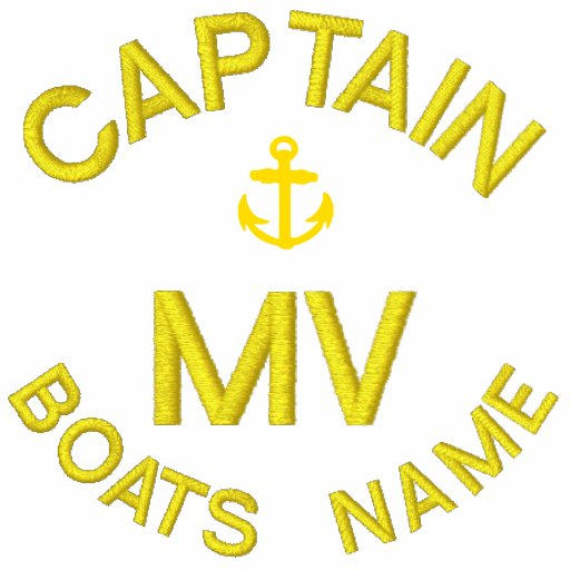 Personalized boat captain monogram and anchor embroidered polo shirt