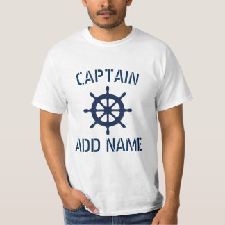 Personalized boat captain name ship wheel t shirts