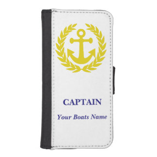 Personalized boat captains iPhone SE/5/5s wallet case