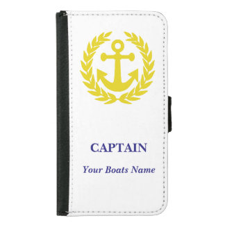Personalized boat captains samsung galaxy s5 wallet case