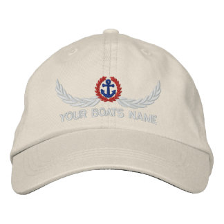 Personalized boats name sailing captains embroidered cap