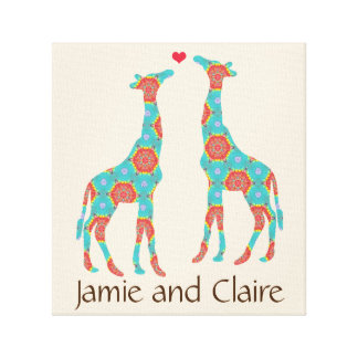 Personalized Bohemian Giraffe Lovers Canvas Print