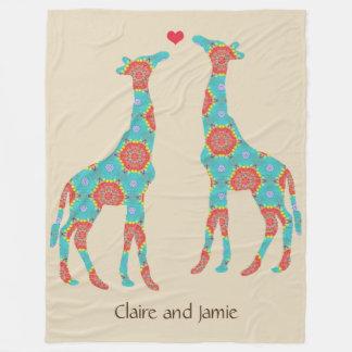 Personalized Bohemian Giraffe Lovers Fleece Blanket