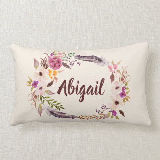 Personalized Boho Floral Name Throw Pillow