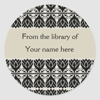 Personalized Bookplates - Black Damask Stickers