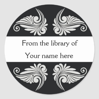 Personalized Bookplates - Flourishes Classic Round Sticker
