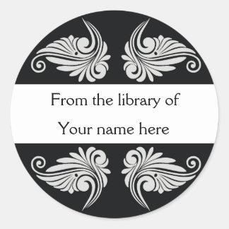 Personalized Bookplates - Flourishes Round Sticker