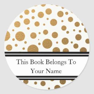 Personalized Bookplates | Gold Glitter Dots Round Sticker