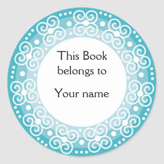 Personalized Bookplates Swirls Dots Sticker