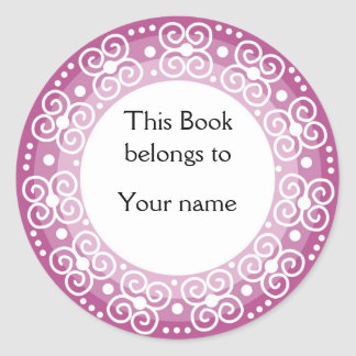 Personalized Bookplates :: Swirls & Dots Round Sticker