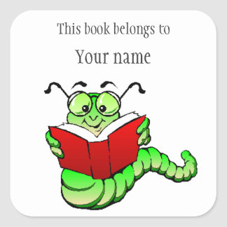 Personalized Bookworm Bookplate Sticker