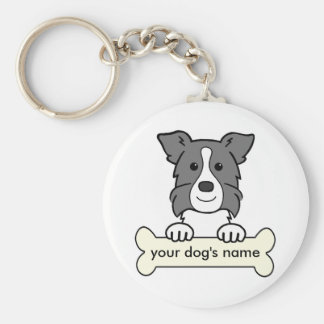 Personalized Border Collie Basic Round Button Key Ring