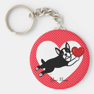 Personalized Boston Terrier and Heart Key Ring