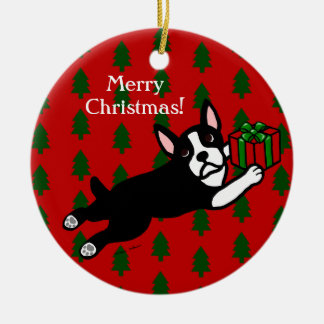 Personalized Boston Terrier Christmas Round Ceramic Decoration