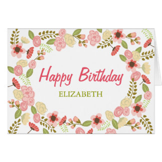Personalized Botanical Birthday Card