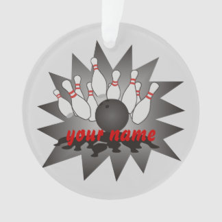 Personalized Bowling Ball Pins Strike Ornament