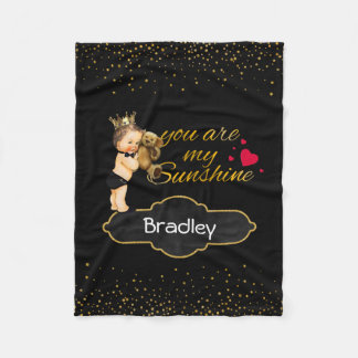 Personalized Boy Prince | Gold Sunshine Nursery Fleece Blanket