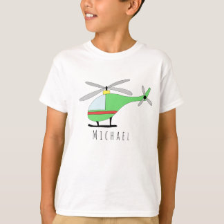 Personalized Boy's Cool Helicopter Aircraft & Name T-Shirt