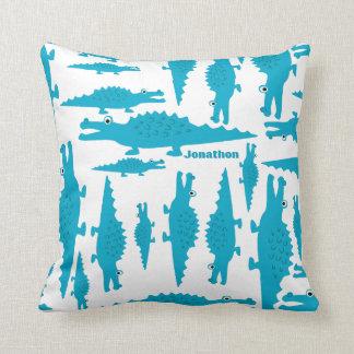 Personalized Boy's Room Blue Aqua Alligator Throw Pillow