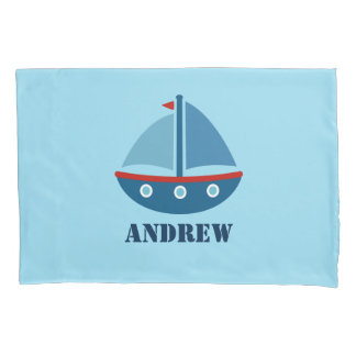 Personalized boys room pillowcase with sailboat