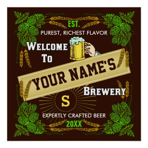 Personalized Brewery / Beer Welcome Sign Print