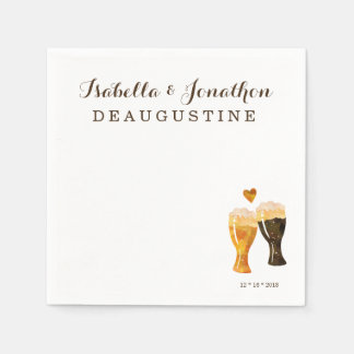 Personalized Brewery Wedding - Rustic Beer Toast Disposable Napkins