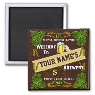 Personalized Brewery Welcome: Hops Barley Beer Square Magnet