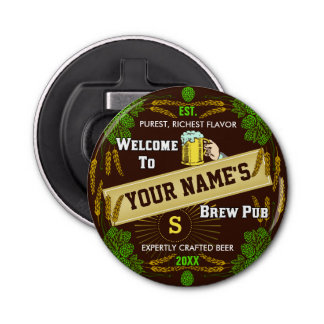 Personalized Brewpub Welcome: Hops Barley Beer Bottle Opener