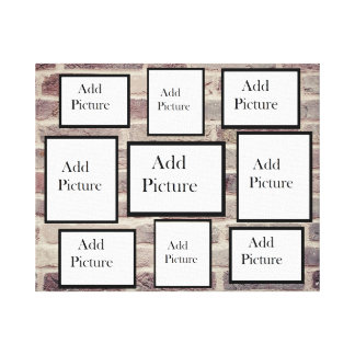 Personalized Brick Background Photo Collage Canvas Print