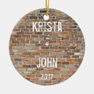 Personalized Brick Wall Graffiti Wedding Ornament
