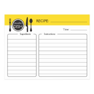 Personalized Bridal Shower Recipe Card Postcards