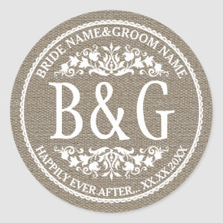 Personalized Bride&Groom Burlap&Lace Classic Round Sticker