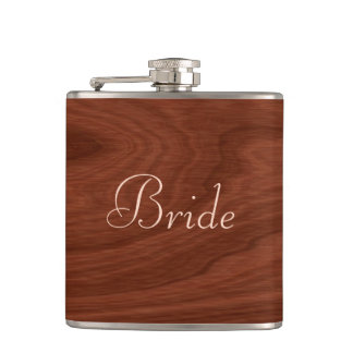 Personalized Bride | Rustic Wedding Wood Look Hip Flask