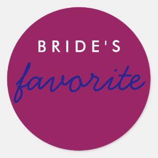 Personalized Bride's Favorite Magenta Navy Blue Classic Round Sticker