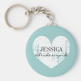 Personalized bridesmaid keychain | teal blue heart