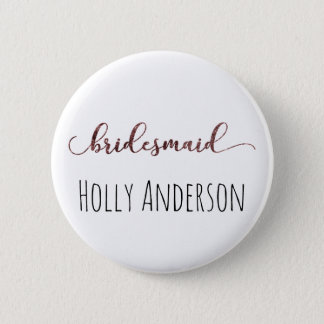 Personalized Bridesmaid Rose Gold Glitter 1 6 Cm Round Badge