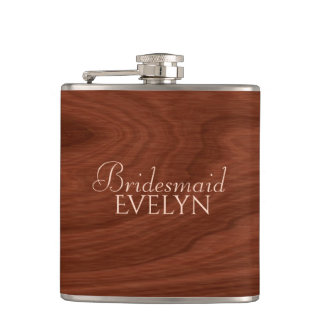 Personalized Bridesmaid | Rustic Wood Wedding Flasks