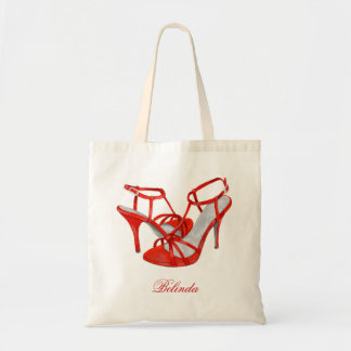 Personalized Bridesmaid Tote Bags, red heels