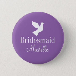 Personalized bridesmaids name badge dove buttons