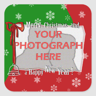 Personalized Bright and Cheerful Christmas Photo Square Sticker