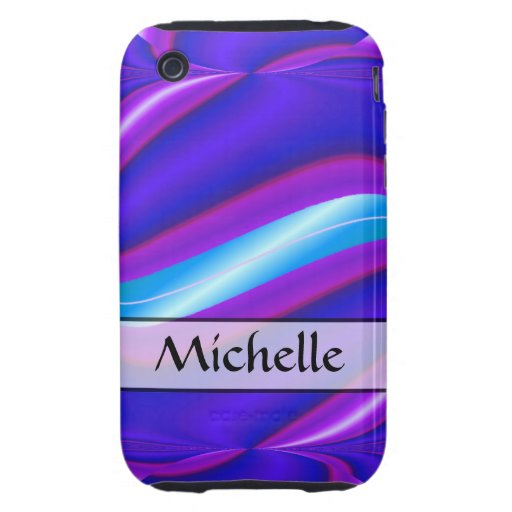 Personalized bright blue abstract stripe tough iPhone 3 cover