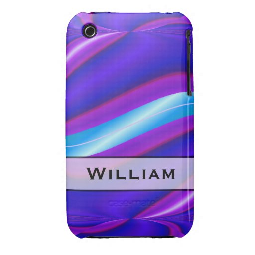 Personalized bright blue abstract stripe iPhone 3 cases