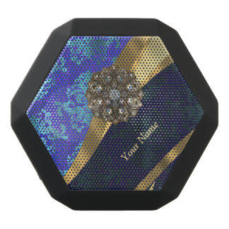 Personalized bright blue damask pattern black bluetooth speaker